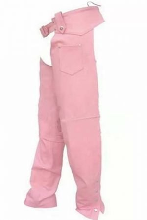womens pink leather chaps