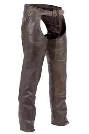 mens brown leather chaps