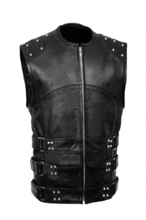 mens faux leather vest with buckles